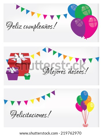 Illustration of Happy birthday card, birthday card, spanish text - stock vector
