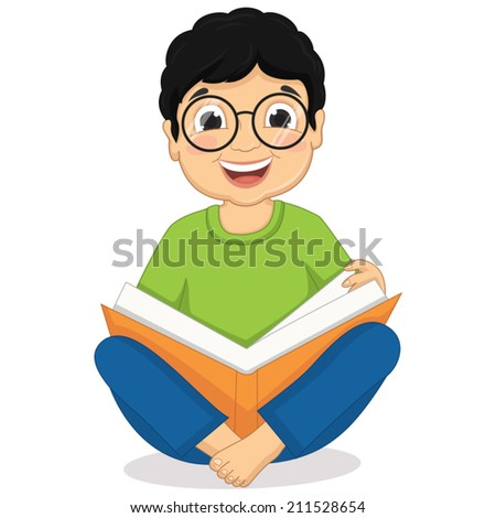 Illustration of Happy Boy Sitting While Reading Book - stock vector