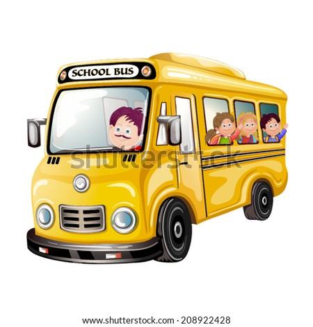 Illustration of happy children on school bus - stock vector