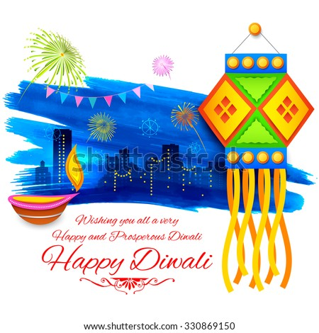 illustration of Happy Diwali background with colorful kandil on city backdrop - stock vector