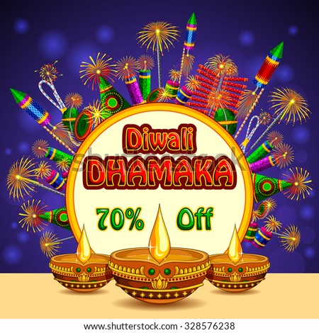 illustration of Happy Diwali promotion background with colorful firecracker and diya - stock vector