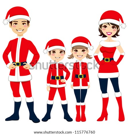 Illustration of happy family celebrating Christmas in Santa Claus clothing costume - stock vector