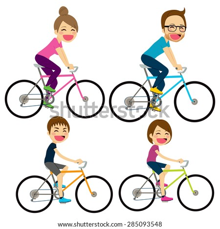 Illustration of happy family riding on bicycle together - stock vector