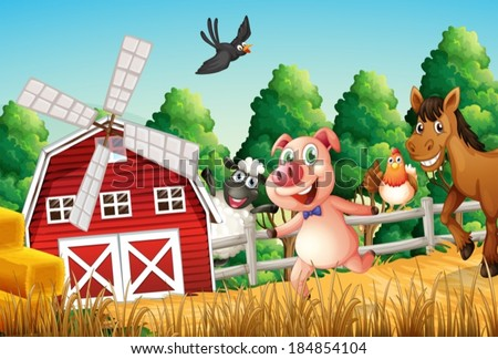 Illustration of happy farm animals - stock vector