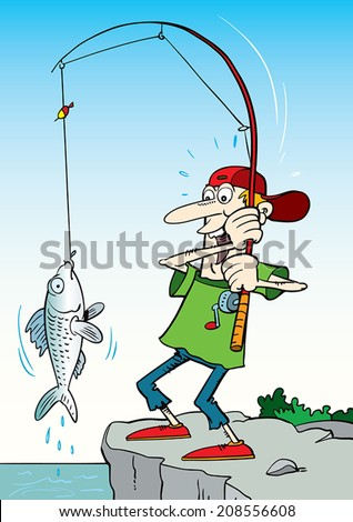 Illustration of happy fisherman. - stock vector