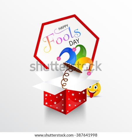 illustration of Happy Fool's Day concept with colorful stylish text on abstract background. - stock vector