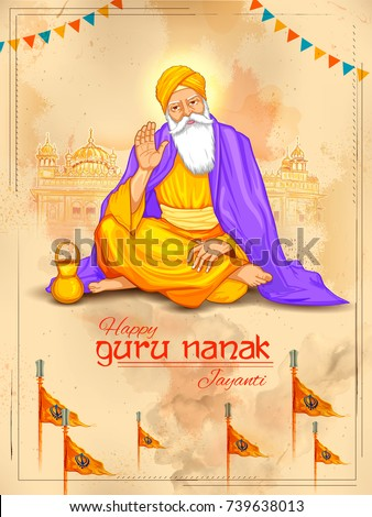 illustration of Happy Gurpurab, Guru Nanak Jayanti festival of Sikh celebration background
