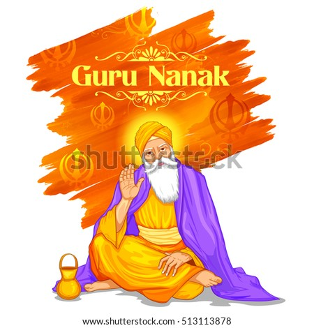 illustration of Happy Guru Nanak Jayanti festival of Sikh celebration background