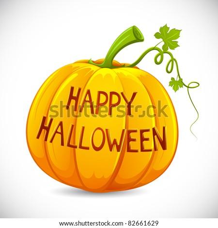 illustration of happy halloween carved in pumpkin - stock vector