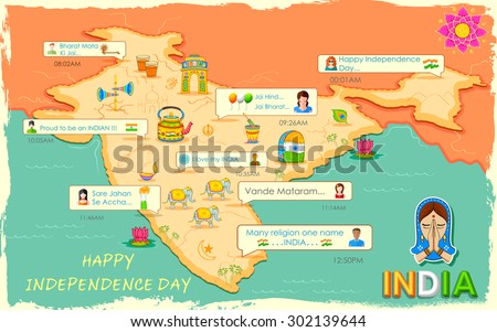 illustration of Happy Independence Day message in social media application - stock vector