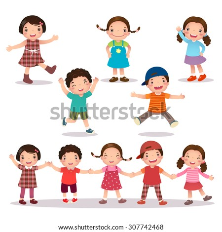 Illustration of happy kids cartoon holding hands and jumping - stock vector