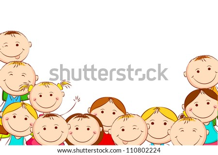 illustration of happy kids on white background - stock vector