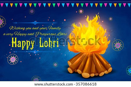 illustration of Happy Lohri background for Punjabi festival - stock vector