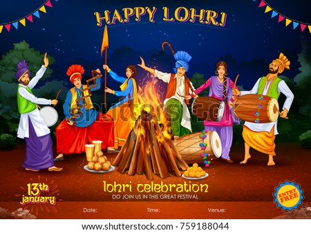 illustration of Happy Lohri holiday background for Punjabi festival