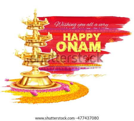 illustration of Happy Onam background with rangoli and lamp