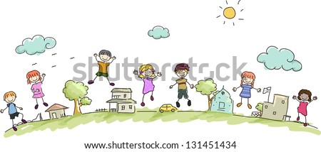Illustration of Happy Stickman Kids in the Community - stock vector