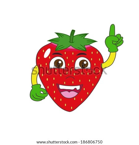 Illustration of happy strawberry on white background