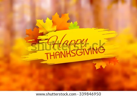 illustration of Happy Thanksgiving background with maple leaves - stock vector