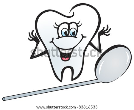 Illustration of happy tooth looking in the mirror - stock vector