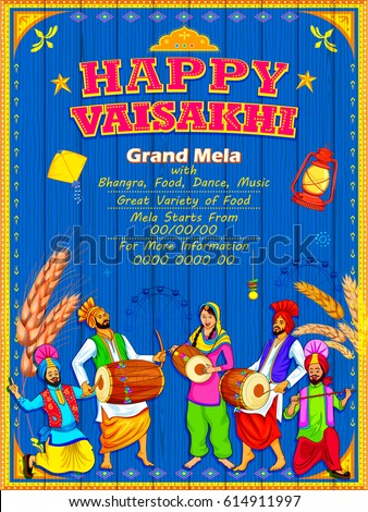 Punjabi culture stock images royalty free images vectors illustration of happy vaisakhi punjabi festival celebration background malvernweather Choice Image