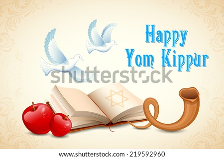 illustration of Happy Yom Kippur background for Israel festival - stock vector