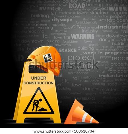 illustration of hardhat on under construction board - stock vector