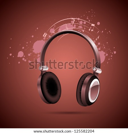 illustration of head phone on abstract musical background - stock vector