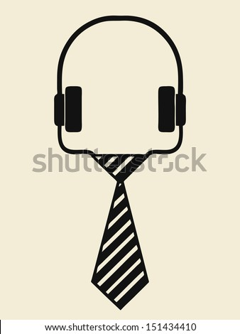 illustration of headphone icon, vector - stock vector