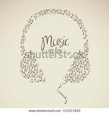illustration of headphones, formed with small musical notes, vector illustration - stock vector