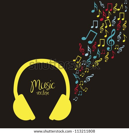 illustration of headphones, with small musical notes, vector illustration - stock vector