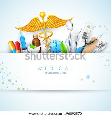 illustration of Healthcare and Medical background with medicine and stethoscope - stock vector