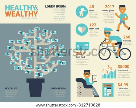 Illustration of healthy and wealthy infographic concept with elements and icons - stock vector