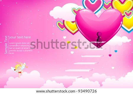 illustration of heart house on cloud with cupid - stock vector