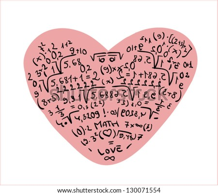 Illustration of heart shaped equations and formula - stock vector