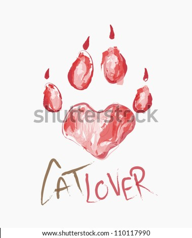 Illustration of heart shaped print paw of a cat, hand drawn - stock vector