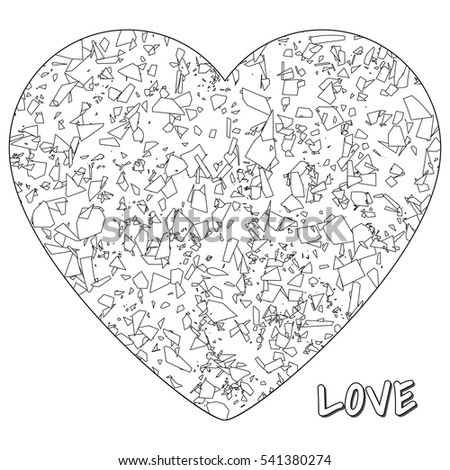 illustration of heart with shards for a coloring book