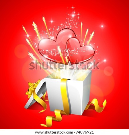 illustration of heart with sparks coming out of gift box - stock vector