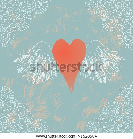 Illustration of heart with wings - stock vector