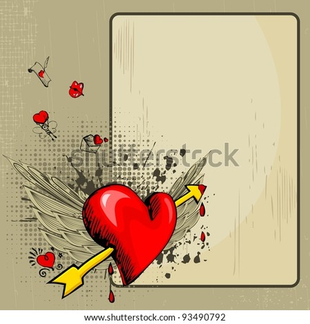 illustration of heart with wings on abstract retro love background - stock vector