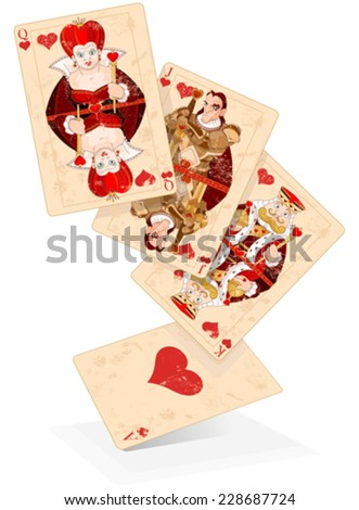 Illustration of Hearts plays cards - stock vector