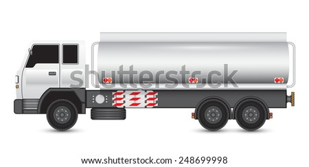 Illustration of heavy truck and chemical tank. - stock vector