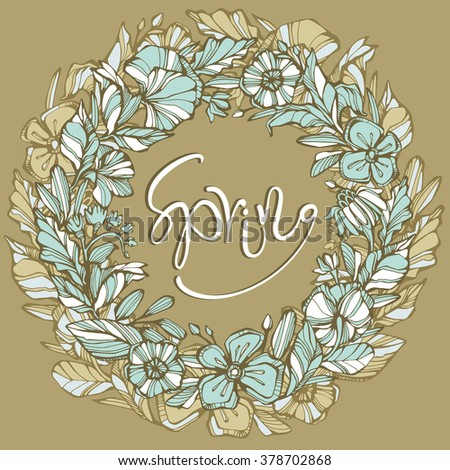 Illustration of highly detailed vector image of gorgeous wreath woven from elegant curls petals and beautiful flowers. Ligature of stems and petals with pastel blue brown beige flowers.