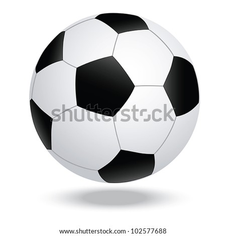 illustration of highly rendered soccer ball, football, isolated in white background. - stock vector