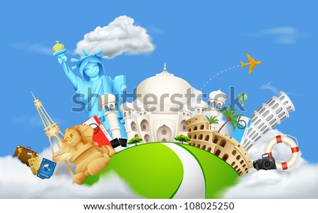 illustration of historical monument on cloudscape - stock vector