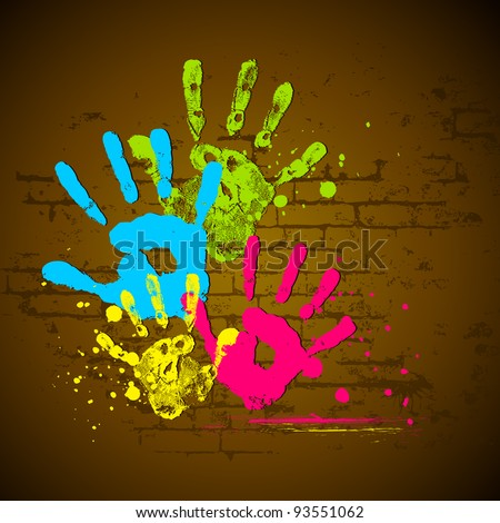illustration of holi wallpaper with coorful hand prints - stock vector