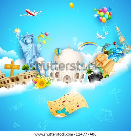 illustration of holiday background with travel object with famous monument on cloud - stock vector