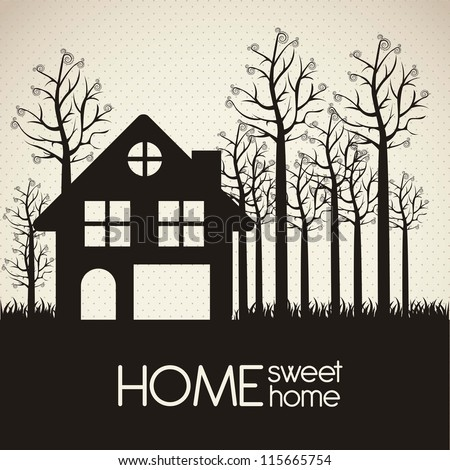 Illustration of home icon, house silhouette on beige background, vector illustration - stock vector