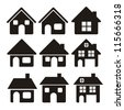 Illustration of home icons, house silhouettes on white background, vector illustration - stock