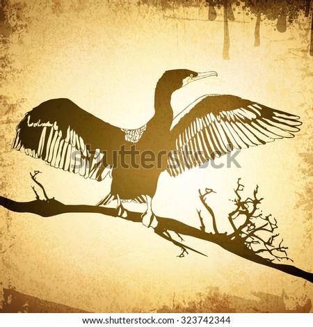 Illustration of Hop off Cormorant Over Grunge Vintage Background - stock vector