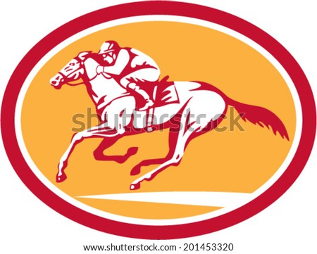 Illustration of horse and jockey racing viewed from side set inside circle shape on isolated background done in retro style. - stock vector